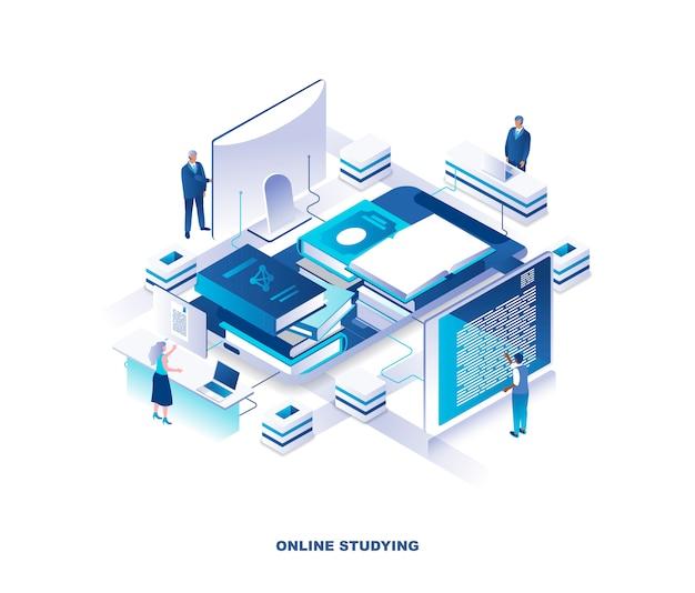 Formazione a distanza, conoscenza digitale, concetto isometrico del corso su internet