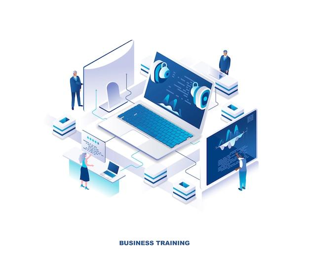 Formazione aziendale aziendale, seminario, concetto isometrico webinar