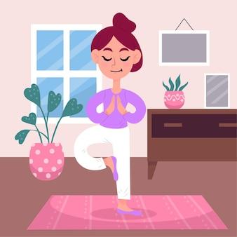Formazione del concetto a casa con la donna che fa yoga