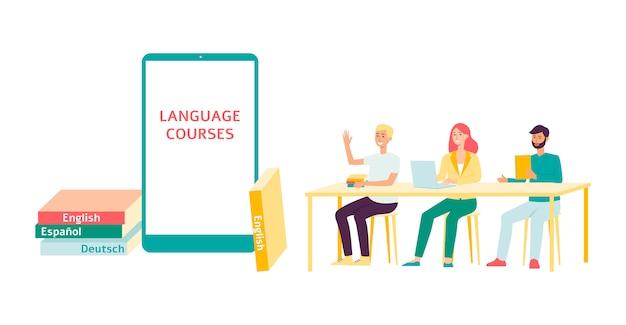 Formazione o corsi di lingua straniera illustrazione del modello su bianco.