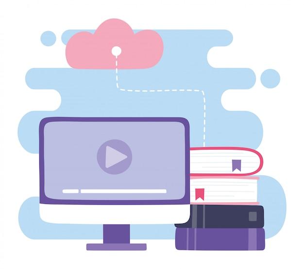 Formazione online, cloud computing e e-book di video computer, istruzione e corsi di apprendimento dell'illustrazione digitale