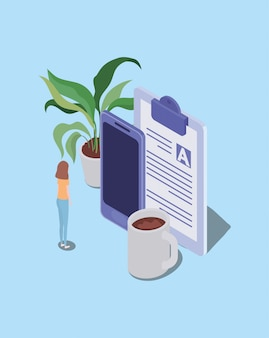 Formazione online con smartphone e mini persone