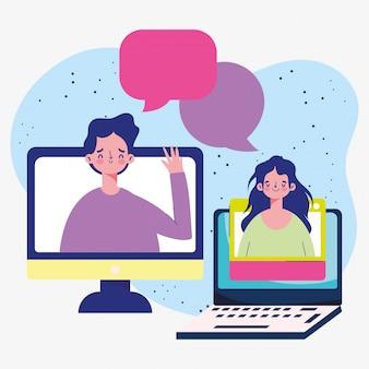 Formazione online, corso a distanza di computer portatile per studenti