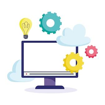Formazione online, idea per il monitor di computer con ingranaggi
