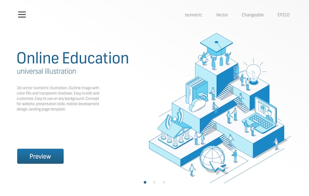 Formazione online. imparare il lavoro di squadra degli studenti. illustrazione al tratto isometrico di e-learning. università digitale, studio a distanza, icona della biblioteca virtuale. sfondo 3d. concetto di crescita passo infografica.