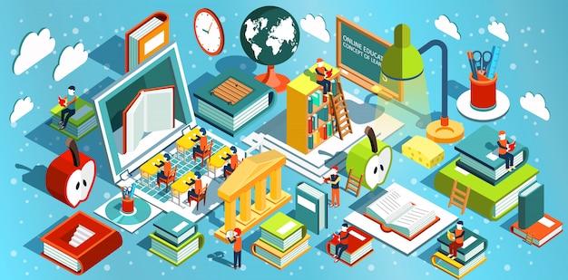 Formazione online isometrica design piatto. il concetto di apprendimento e lettura di libri in biblioteca e in classe. studi universitari. illustrazione