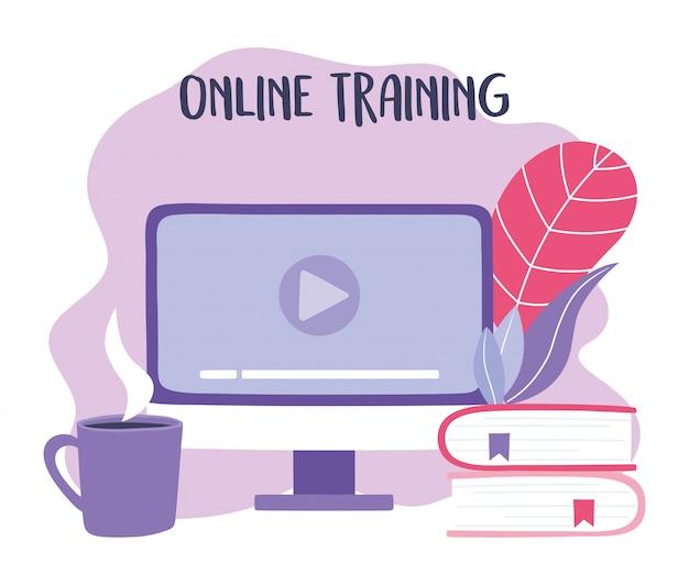 Formazione online, libri sul sito di video per computer e tazza di caffè, istruzione e corsi di apprendimento dell'illustrazione digitale
