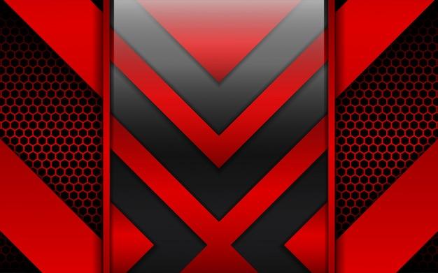Forme astratte di metallo rosso e nero su sfondo di esagono
