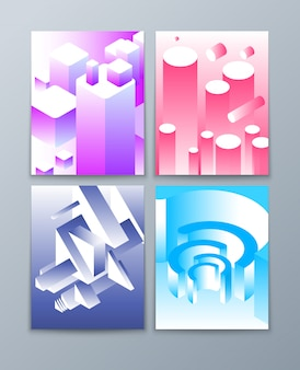 Forme astratte isometriche. 3d oggetti geometrici futuristici in colori di tendenza. collezione di brochure vettoriali