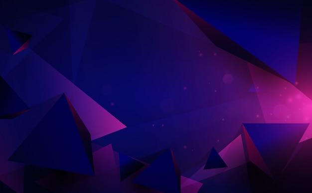 Forme astratte poli basso caotico 3d. volare piramidi poligonali e tecnologia futuristica