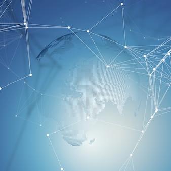 Forme astratte rete futuristica. sfondo high tech, linee di collegamento e punti