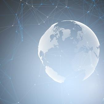 Forme astratte rete futuristica. sfondo hud high tech, linee e punti di collegamento, trama lineare poligonale. globo del mondo su blu. connessioni di rete globale, progettazione geometrica, concetto di dati di scavo.