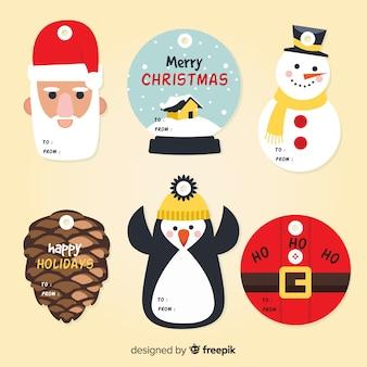 Forme collezione di etichette natalizie