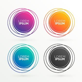 Forme di bandiera circolari alla moda con spazio per il testo