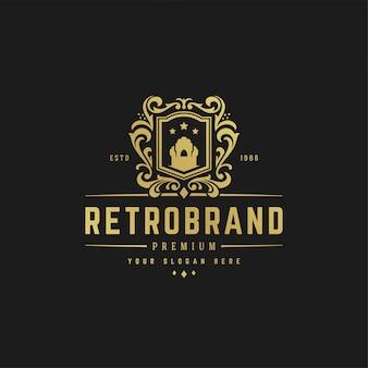 Forme di lusso dell'ornamento reale vittoriano del modello di progettazione di logo per progettazione del logo o del distintivo