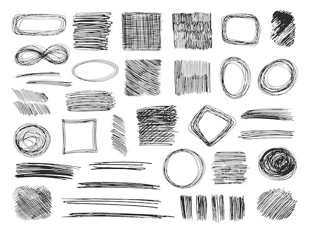Forme di schizzo. cornici scarabocchi disegnati a mano. scarabocchi a matita. insieme isolato di trame abbozzato