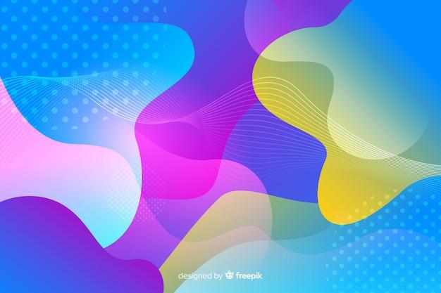 Forme fluide e sfondo effetto memphis