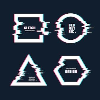 Forme geometriche alla moda con effetto distorsione del glitch. cornici per bordi con linee di glitch video impostate