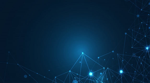 Forme geometriche blu del plesso astratto. connessione e concetto web. sfondo di rete digitale, comunicazione e tecnologia con linee in movimento e punti. illustrazione.