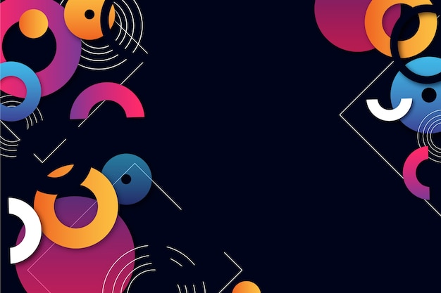 Forme geometriche colorate su sfondo scuro
