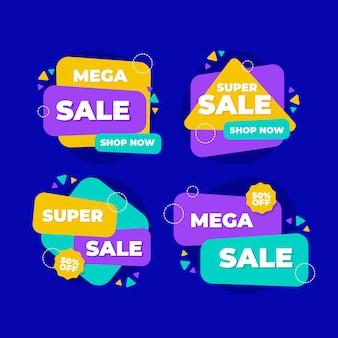 Forme geometriche con banner di vendita effetto memphis