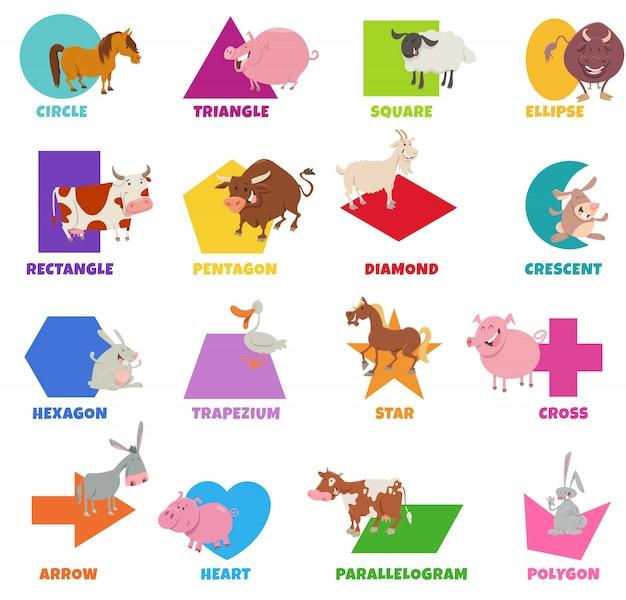 Forme geometriche con set di animali da fattoria dei cartoni animati