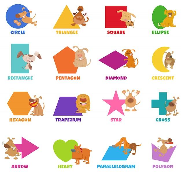Forme geometriche con set di cani e cuccioli