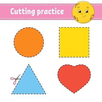 Forme geometriche del foglio di lavoro di taglio pratica
