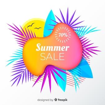 Forme liquide di vendita di estate e fondo delle foglie tropicali