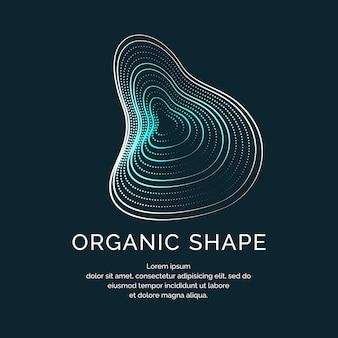 Forme organiche con onde e linee dinamiche su fondo scuro. illustrazione vettoriale.