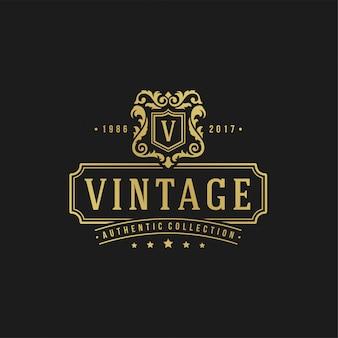 Forme reali dell'ornamento di vignette del vittoriano dell'illustrazione di vettore del modello di progettazione di logo di lusso per progettazione dell'etichetta o del logotype.