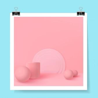 Forme realistiche con ombra. geometria isometrica design minimale alla moda.