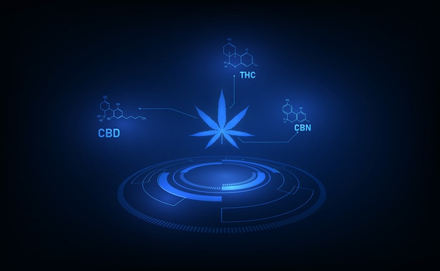 Formula chimica struttura molecolare tetraidrocannabinolo modello di cannabis medica