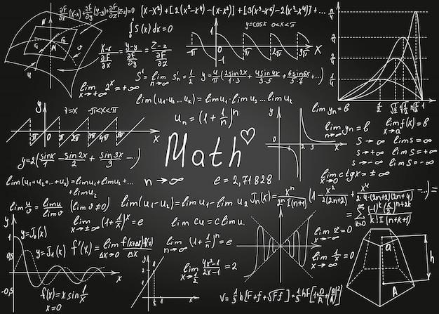 Formule matematiche bianche disegnate a mano sulla lavagna nera per lo sfondo. illustrazione.