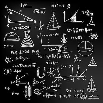 Formule scientifiche di progettazione disegnata a mano