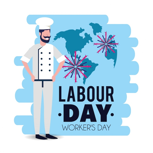 Fornaio con uniforme per festeggiare la giornata del lavoro