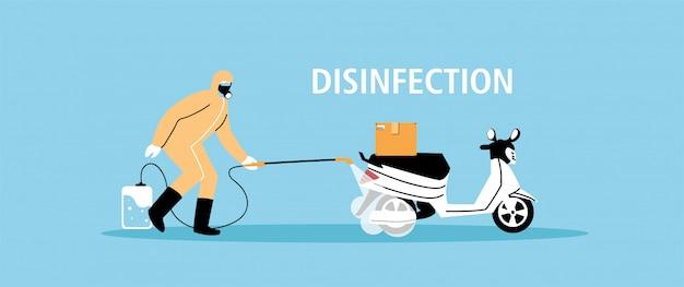 Fornire assistenza per la disinfezione delle motociclette mediante coronavirus o covid 19