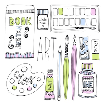 Forniture d'arte per il disegno. sketches vector set con vernici, palette, schizzi e altri materiali