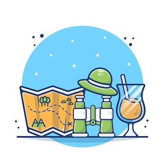 Forniture di guida di viaggio con binoculare e illustrazione della mappa. linea guida del concetto di turismo. strumenti funzionali per cappelli e mappe. stile cartone animato piatto.
