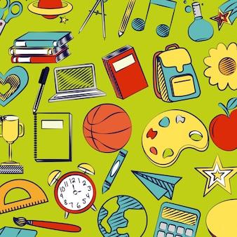 Forniture di ritorno a scuola, libri, pallacanestro, sveglia, righello, libri, globo