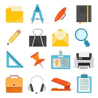 Forniture per ufficio e icone di articoli di cancelleria