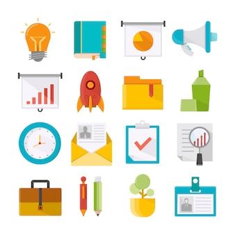 Forniture per ufficio e icone di concetto di affari