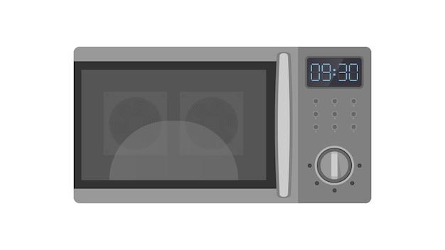 Forno a microonde in uno stile piatto. forno a microonde della cucina isolato su una priorità bassa bianca.