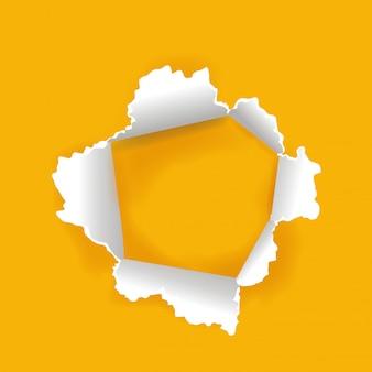 Foro di carta svolta con sfondo giallo