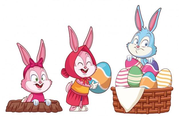 Foro di coniglio di amici felici coniglietto di pasqua carino
