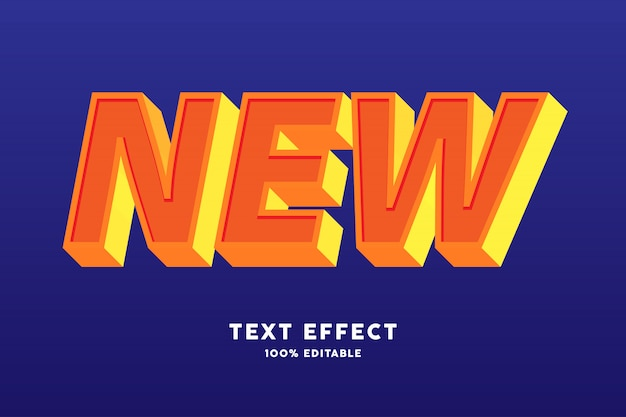 Forte effetto di testo giallo arancione in grassetto 3d