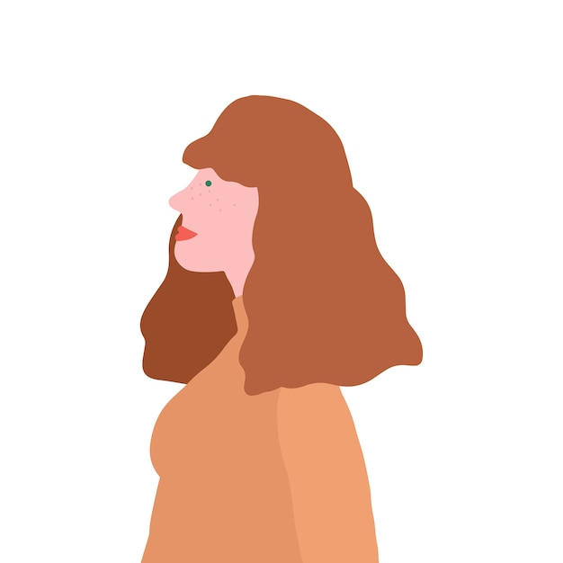 Forte marrone haured femminile nel vettore di profilo