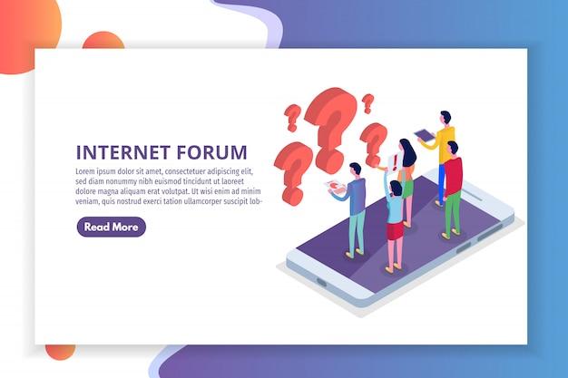Forum su internet, comunicazione delle persone, concetto isometrico della società. illustrazione