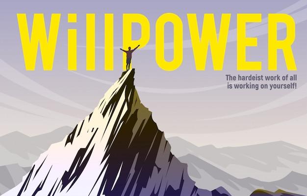 Forza di volontà. lo scalatore è in piedi sulla cima della montagna.