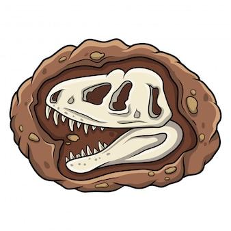 Fossile di dinosauro testa di cartone animato